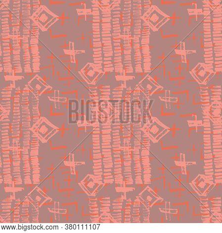 Tie Dye Japanese Geometric Winter Seamless Pattern. Boho Tie Dye Folk Batik. Geo Wabi Sabi Decorativ