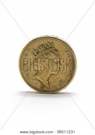 Pound Coin Standing Isolated On White Background