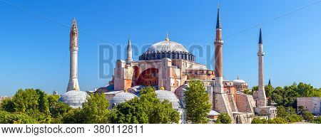 Hagia Sophia Mosque In Summer, Istanbul, Turkey. Ancient Hagia Sophia Or Aya Sofya Is Top Historical
