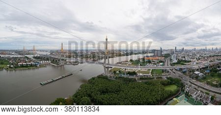 Aerial View Of Bhumibol Bridge And Chao Phraya River In Structure Of Suspension Architecture Concept