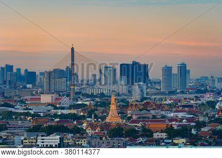 Aerial View Of Rama 8 Bridge And Temple Of Dawn Or Wat Arun In Rattanakosin Island In Architecture,