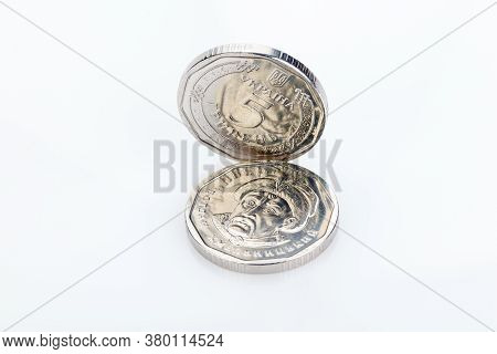 Ukrainian Money. Five Grivna Hryvnia New Coins Isolated On White. Money Of Ukraine. Ukrainian Nation