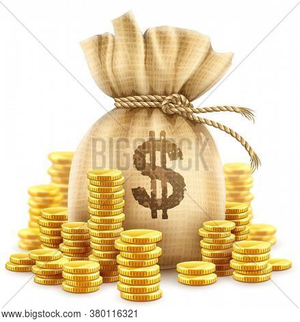Full sack of cash money corded with rope and heaps of gold coins. Banking concept realistic icon of moneybag with dollar currency sign. Isolated on white transparent background. 3D illustration.