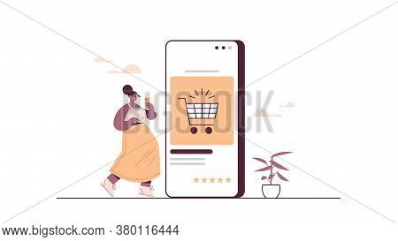 Woman Using Smartphone Buying Things In Online Store Sale Consumerism Online Shopping Ecommerce Smar