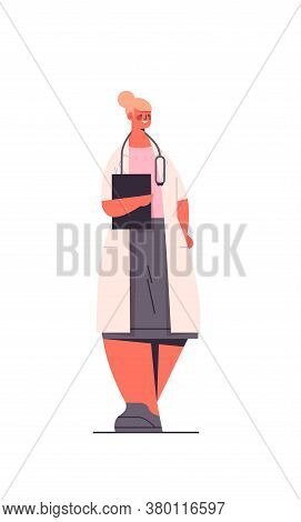 Female Doctor In Uniform Holding Clipboard Healthcare Medicine Concept Happy Woman Medical Worker St