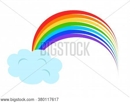 Illustration  With Rainbow And Clouds On White Background. Vector Illustration.