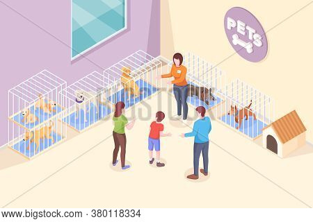 Pet Adoption, Family Chooses Dog From Shelter, Isometric Illustration. Family Mother And Father With