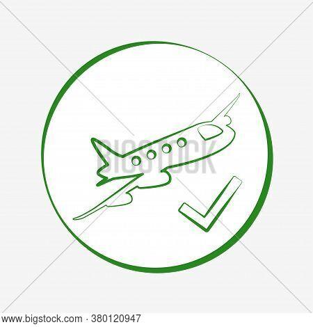 Green Airplane Icon. Flight Allowed Illustration Vector Design
