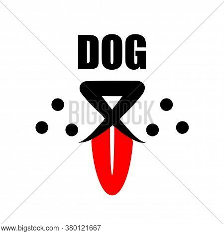 Dog With Red Tongue Logo. Cute Happy Pet With Smile Face Line Design And Copy Space Text. Doggy Flat