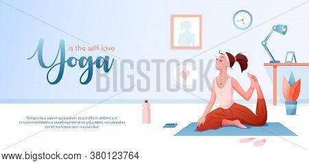 Yoga Is Self Love Concept Flat Vector Illustration. Landing Page Design Template With Cartoon Happy