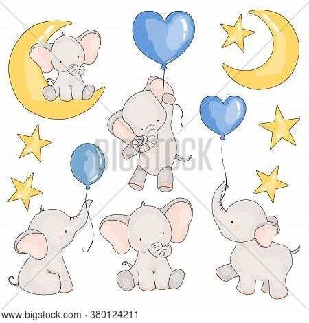Set Of Pictures Of Elephants, Balloons, And An Elephant For Months, Vector Illustration, Isolate On