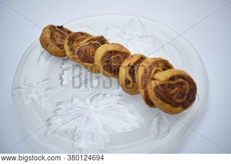 Pinwheel Samosa Indian Snack, Made From Various Flours Filled With Potato Alu Rolled, Cut And Deep F