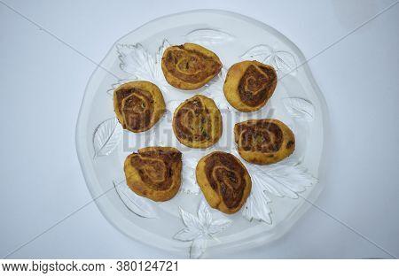 Top View Of Indian Traditional Spicy Snack Bhakarwadi Also Known As Bakarwadi, Bakarvadi, Pinwheel S