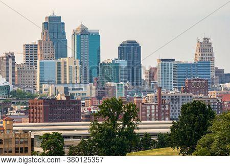 Kansas City, Missouri, Downtown City Skyline And Penn Valley Park On A Summer Day