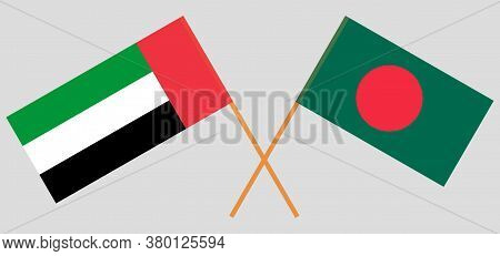 Crossed Flags Of Bangladesh And The United Arab Emirates. Official Colors. Correct Proportion. Vecto