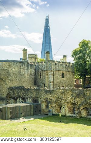 June 2020. London. The Shard From The Tower Of London A Unesco World Heritage Site, London, England,