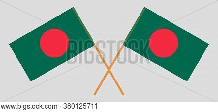 Crossed Flags Of Bangladesh. Official Colors. Correct Proportion. Vector Illustration
