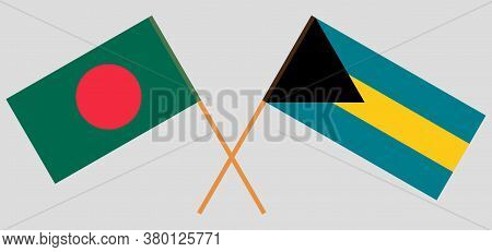 Crossed Flags Of Bangladesh And Bahamas. Official Colors. Correct Proportion. Vector Illustration