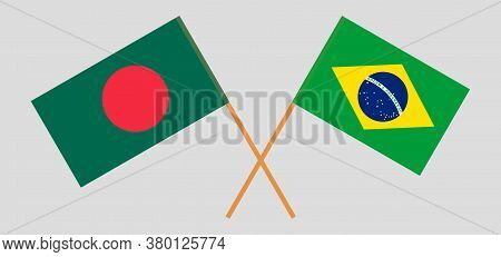 Crossed Flags Of Bangladesh And Brazil. Official Colors. Correct Proportion. Vector Illustration