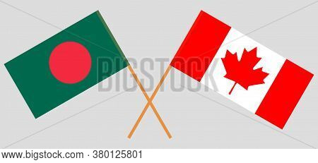 Crossed Flags Of Bangladesh And Canada. Official Colors. Correct Proportion. Vector Illustration