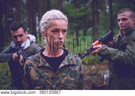 terrorists was capture alive woman soldier  and interrogation her on special tactics violent way
