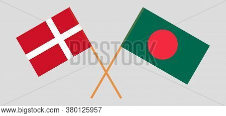 Crossed Flags Of Bangladesh And Denmark. Official Colors. Correct Proportion. Vector Illustration