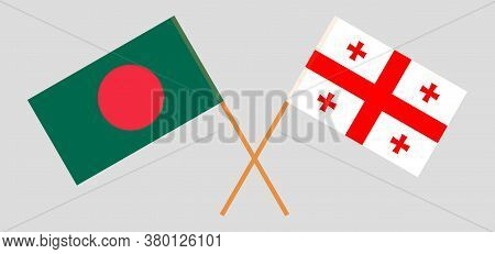 Crossed Flags Of Bangladesh And Georgia. Official Colors. Correct Proportion. Vector Illustration