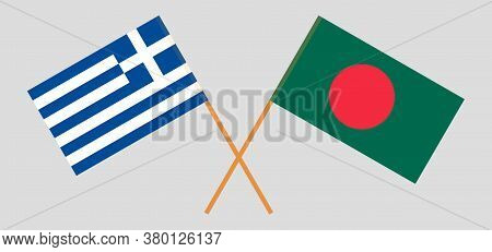 Crossed Flags Of Bangladesh And Greece. Official Colors. Correct Proportion. Vector Illustration