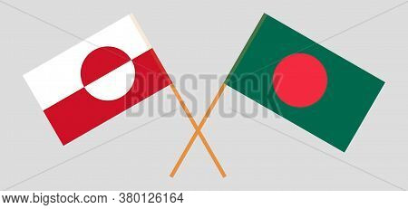 Crossed Flags Of Bangladesh And Greenland. Official Colors. Correct Proportion. Vector Illustration
