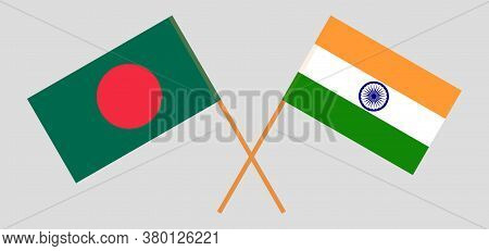 Crossed Flags Of Bangladesh And India. Official Colors. Correct Proportion. Vector Illustration