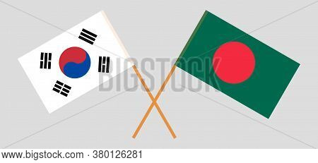 Crossed Flags Of Bangladesh And South Korea. Official Colors. Correct Proportion. Vector Illustratio