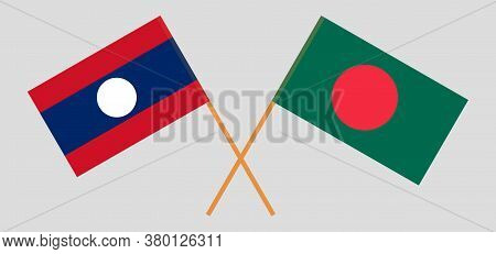 Crossed Flags Of Bangladesh And Laos. Official Colors. Correct Proportion. Vector Illustration