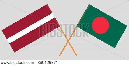 Crossed Flags Of Bangladesh And Latvia. Official Colors. Correct Proportion. Vector Illustration