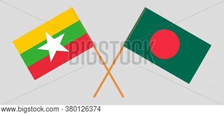 Crossed Flags Of Bangladesh And Myanmar. Official Colors. Correct Proportion. Vector Illustration