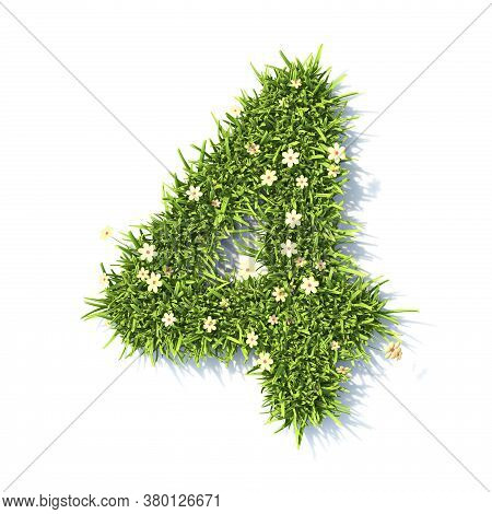 Grass Font Number 4 Four 3d Rendering Illustration Isolated On White Background