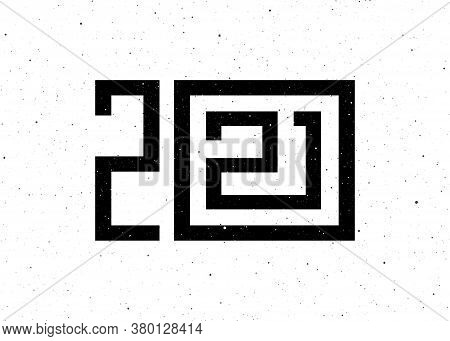 Greeting Card Design For 2021 New Year Of The Ox. Black Number 2021 Lettering On White Background In