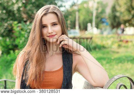 Woman Smiling. Closeup Portrait Headshot Of Beautiful Happy Girl Posing Student Looking At You Camer