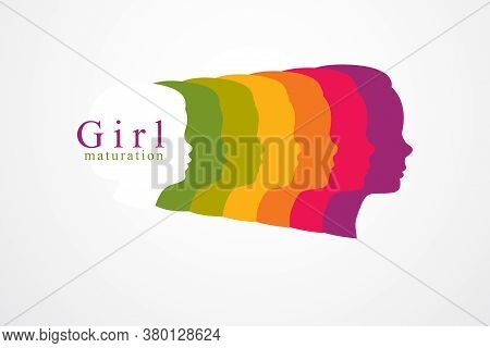 Girl Growing To Adult Age Years Concept Illustration, From Child To Teen And Woman, Period And Cycle