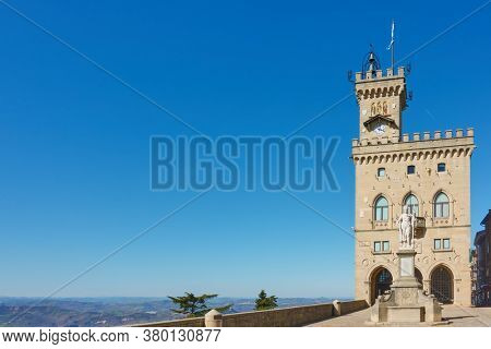 Square with The City hall of San Marino, The Republic of San Marino. Copy-space composition
