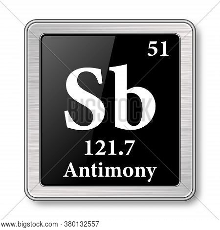 Antimony Symbol.chemical Element Of The Periodic Table On A Glossy Black Background In A Silver Fram