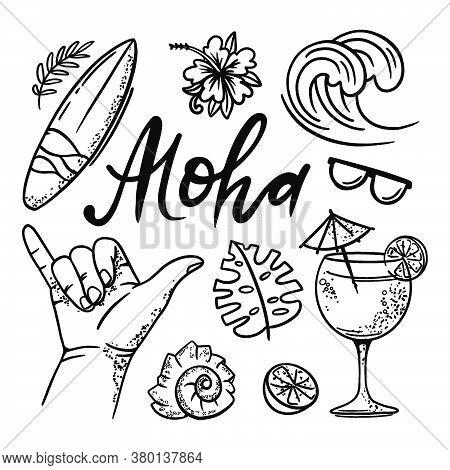Surfing Aloha Summer Vacation Cruise Sea Beach Travel Hand Drawn Vector Illustration Set For Print