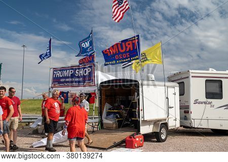 Wall, South Dakota - July 24, 2020: A Pop-up Donald Trump Shop Selling 2020 Keep America Great Elect