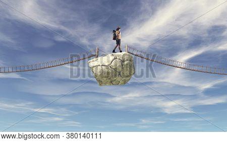 Traveler Walking On Rock Between Two Bridges . Taking Risk Concept .