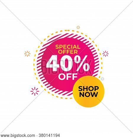 40% Sale Tag Vector Badge Template, 40% Sale Label Collection, Clearance Sale Sticker Emblem, Bargai