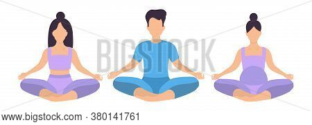 People Sit Cross-legged In The Lotus Position, A Basic Asana In Yoga. Woman Meditates, Man Relaxes,