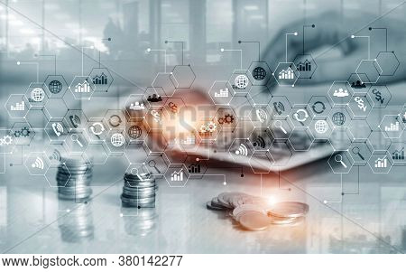 Business Finance Concept Double Exposure Trading Stock Control Panel Strategy Marketing.