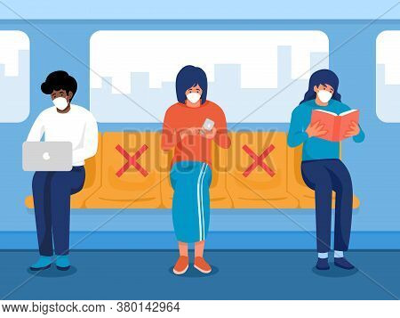 Safe Travels Under Covid-19, One Men Working On Notebook, Two Women Holding Phone And Reading Book W