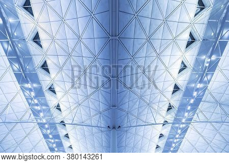 Details Of Ceiling Of Modern Architecture. Building Abstract Background Pattern