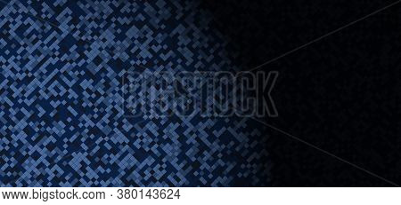 Mosaic Dark Blue Pattern Design Vignette With Space For Content. Vector Illustration.