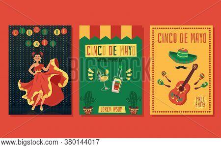Cinco De Mayo Party Invitation Card Set - Flat Cartoon Flyer Collection